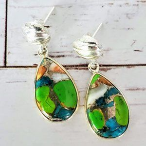 Multi-Color Turquoise Sterling Earrings